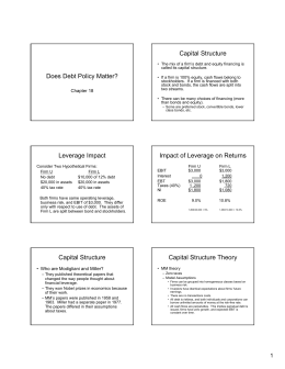 Does Debt Policy Matter? Capital Structure Leverage Impact Impact