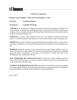 NOTICE OF MOTION Proposed 'Super Hospital