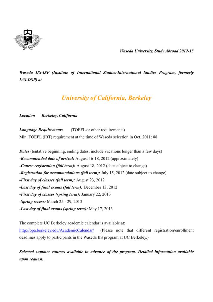 Berkeley Academic Calendar.University Of California Berkeley