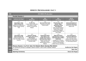 session programme: day 1