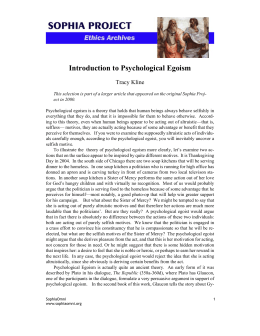 Introduction to Psychological Egoism