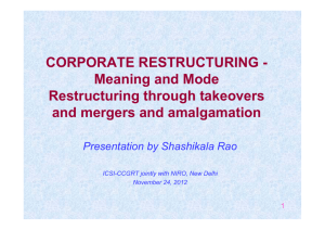 CORPORATE RESTRUCTURING - Meaning and Mode