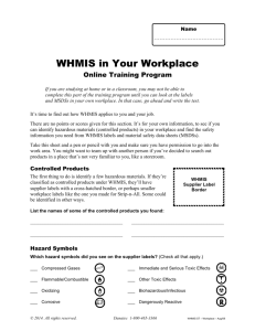 WHMIS training for Elearning 2013 new template