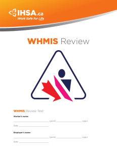WHMIS Review - Infrastructure Health & Safety Association