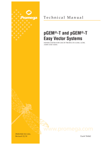pGEM-T and pGEM-T Easy Vector Systems Technical Manual,TM042