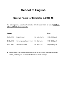 School of English Course Packs for Semester 2, 2015-16