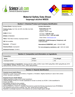 Material Safety Data Sheet Isopropyl Alcohol MSDS