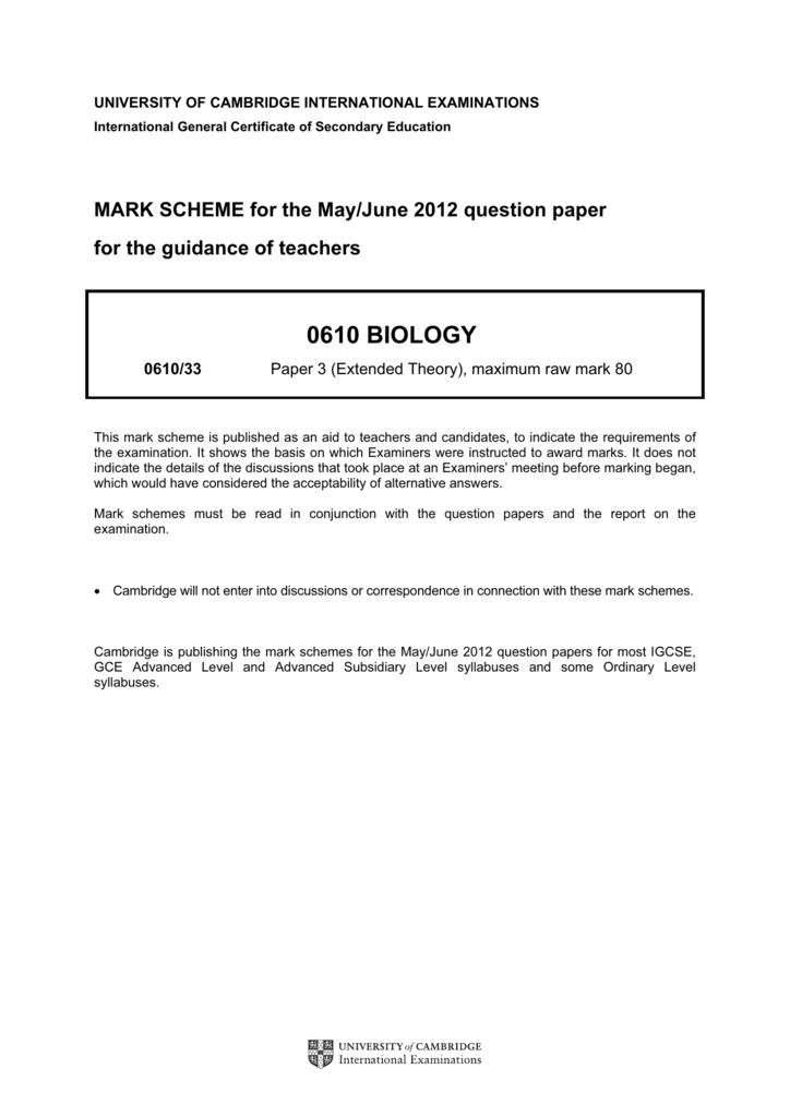 0610 biology - Past Papers | GCE Guide