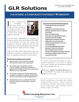 GLR Corporate University Workshop One Sheet v. 1.0.pmd