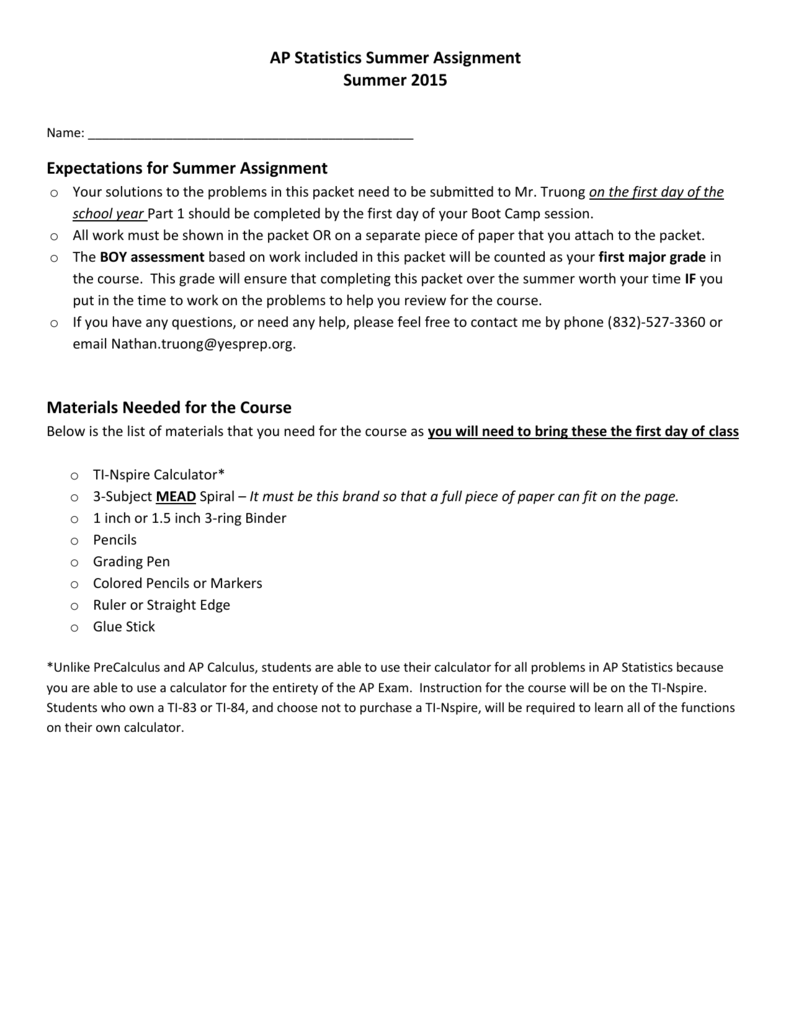 AP Statistics - YES Prep Brays Oaks Summer Homework