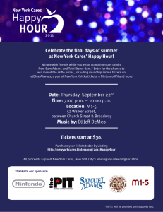 Celebrate the nal days of summer at New York Cares' Happy Hour