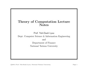 Theory of Computation Lecture Notes