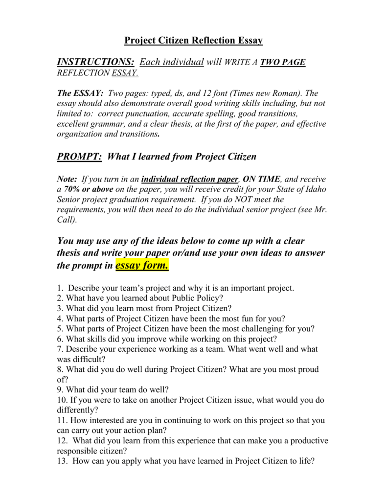 project citizen reflection paper put a reflection paper for each
