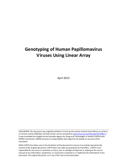 Genotyping of Human Papillomavirus Viruses Using Linear Array