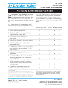 Assessing Entrepreneurial Skills - Iowa State University Extension