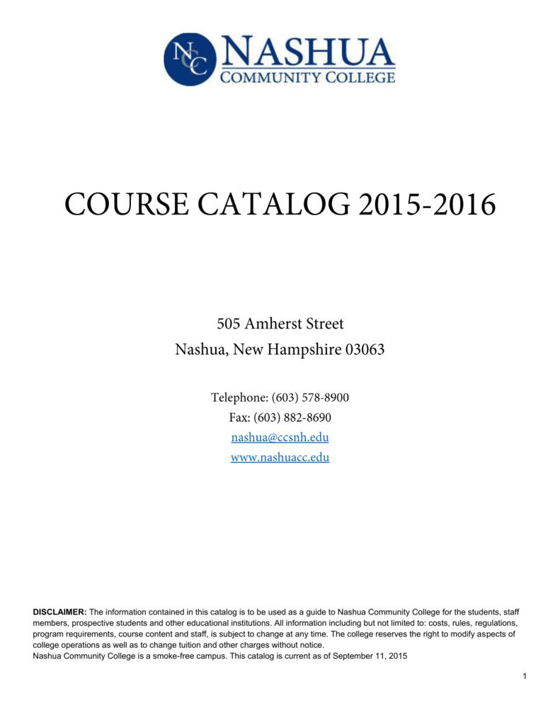 College Catalog Nashua Community College