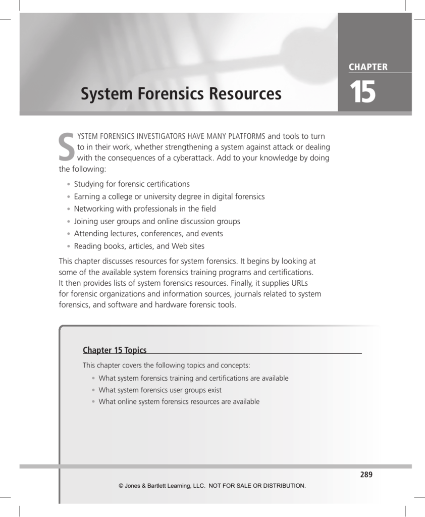 System Forensics Resources