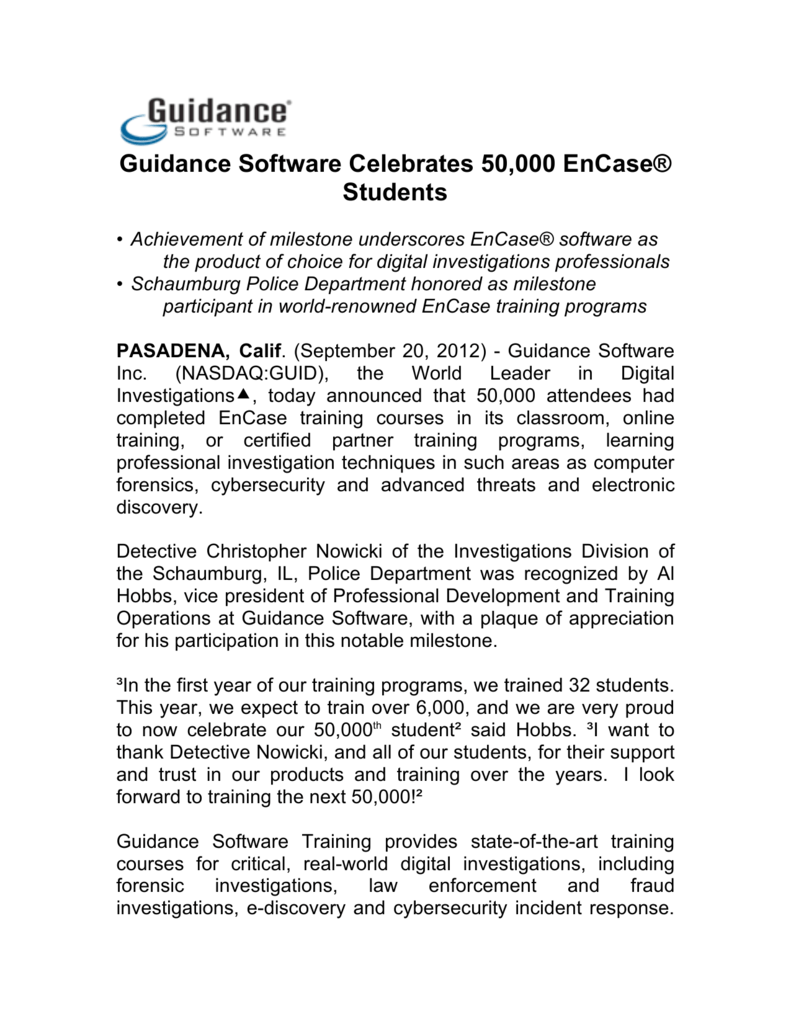 Guidance Software Celebrates 50000 Encase Students