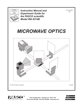 microwave optics - Granular Materials Laboratory