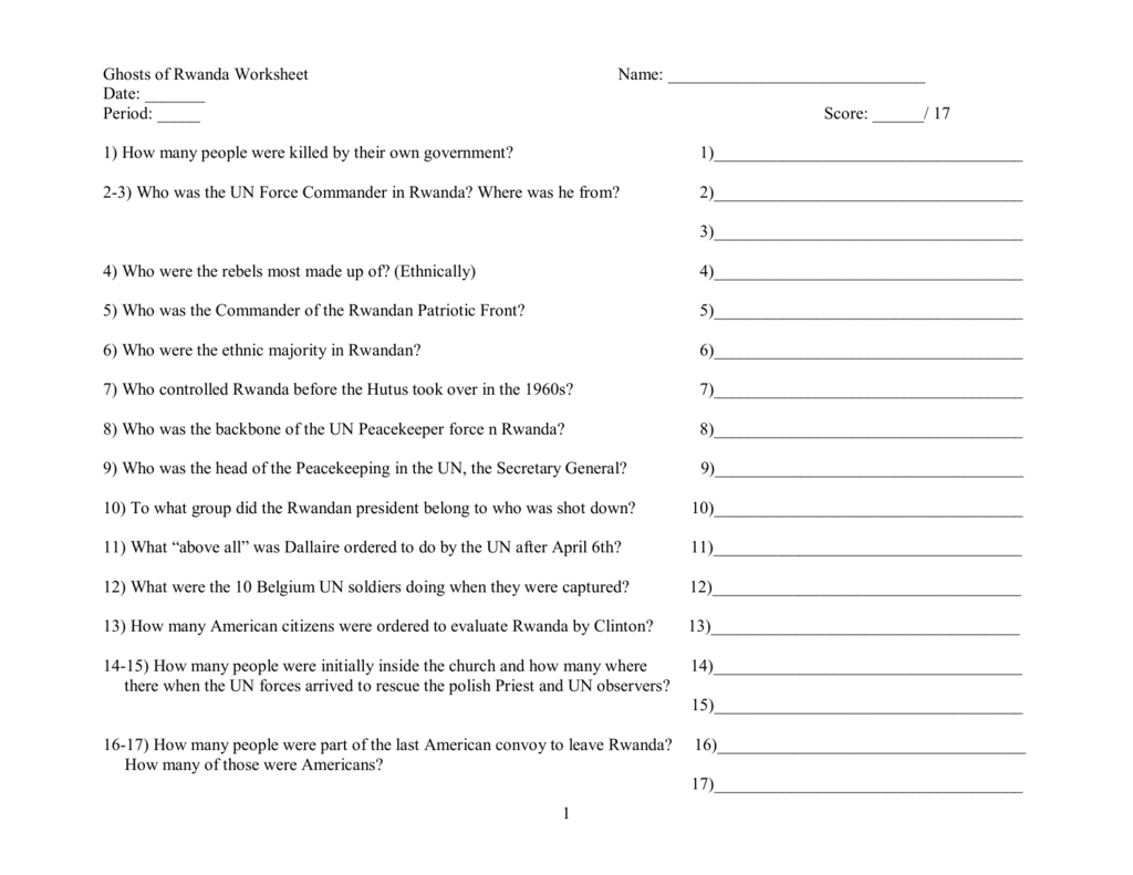 Worksheets Hotel Rwanda Worksheet 1 ghosts of rwanda worksheet name date period