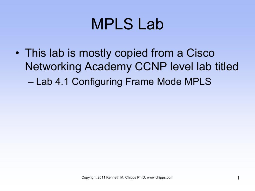 MPLS Basic Lab
