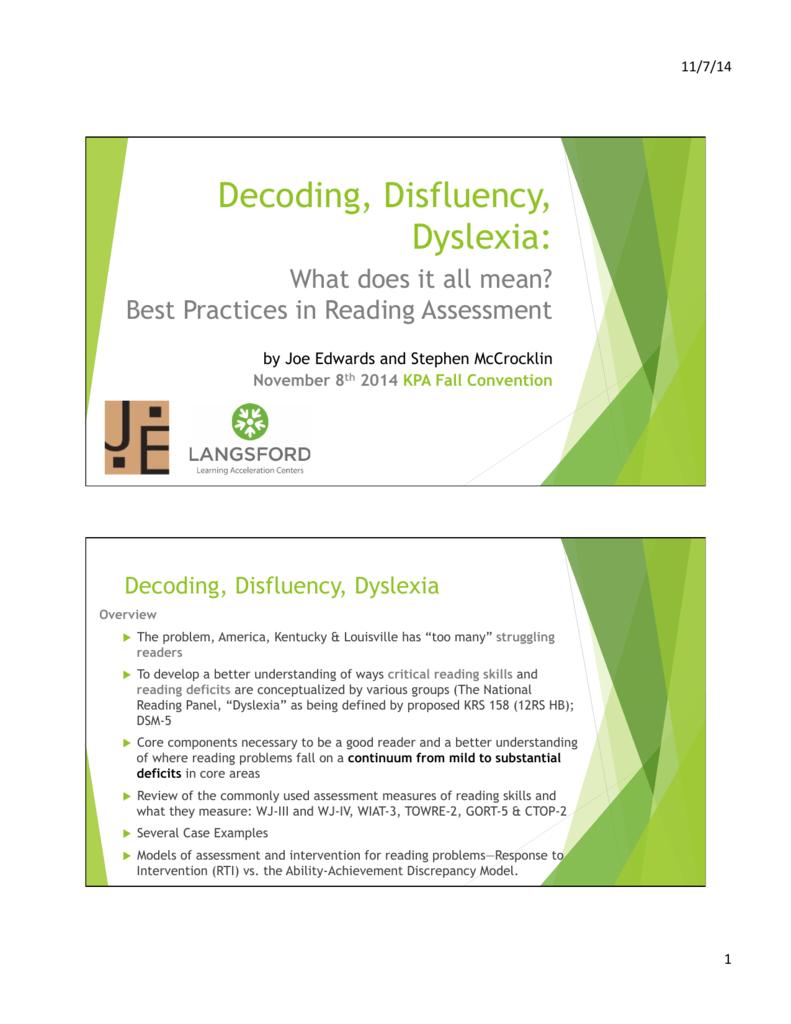 Decoding, Disfluency, Dyslexia integrated Handouts3.pptx