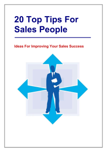 20 Top Tips For Sales People - Sales Training