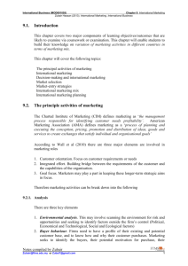 9.1. Introduction 9.2. The principle activities of marketing