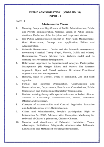 PUBLIC ADMINISTRATION ( CODE NO. 18) PAPER – I PART