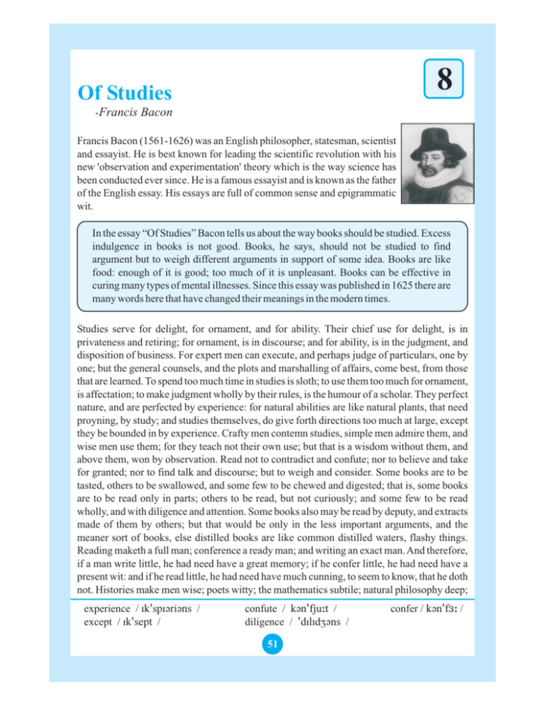 Francis bacons essay of studies write a dating profile