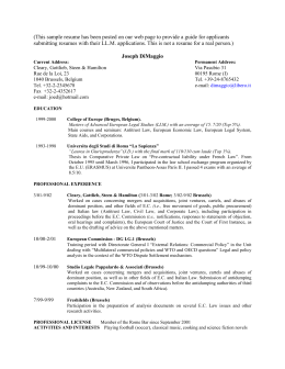 sample resume - University of Chicago Law School
