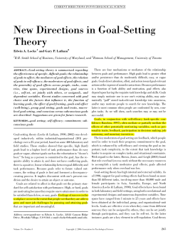 New Directions in Goal-Setting Theory