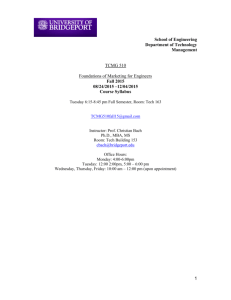 TCMG 510 - University of Bridgeport
