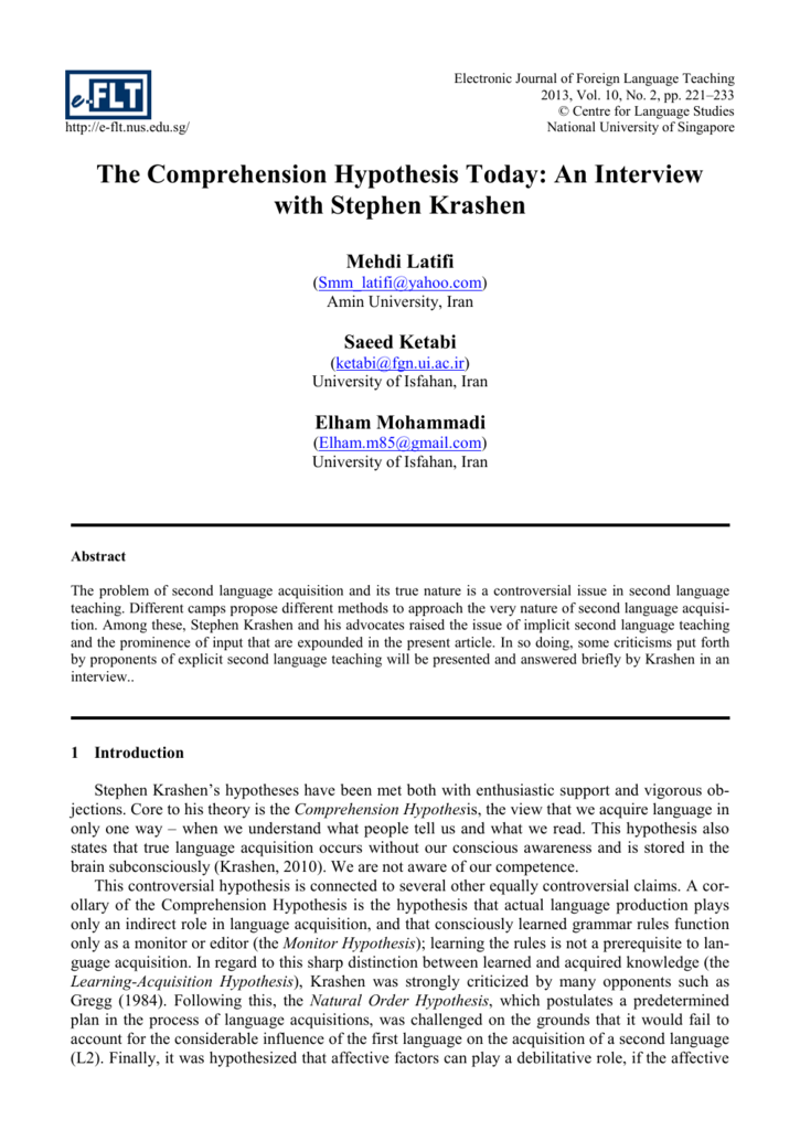 A Critical Exploration of Krashens Extended Comprehension Hypothesis