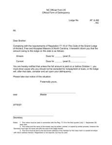 Form 23 Official Notice of Delinquency