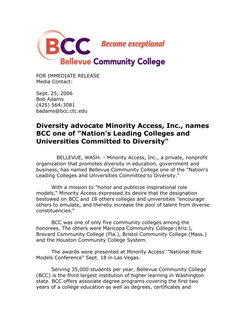 Diversity advocate Minority Access, Inc , names BCC one of
