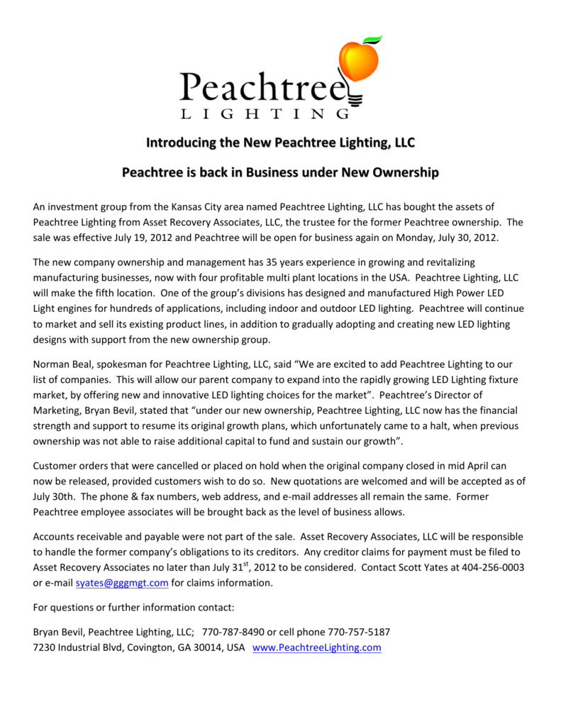 Introducing The New Peachtree Lighting Llc Is Back In