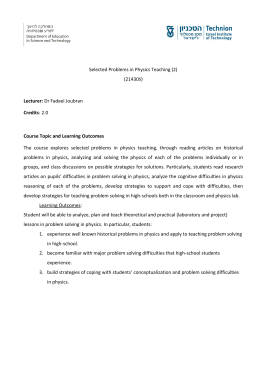 Selected Problems in Physics Teaching (2) (214305) Lecturer: Dr