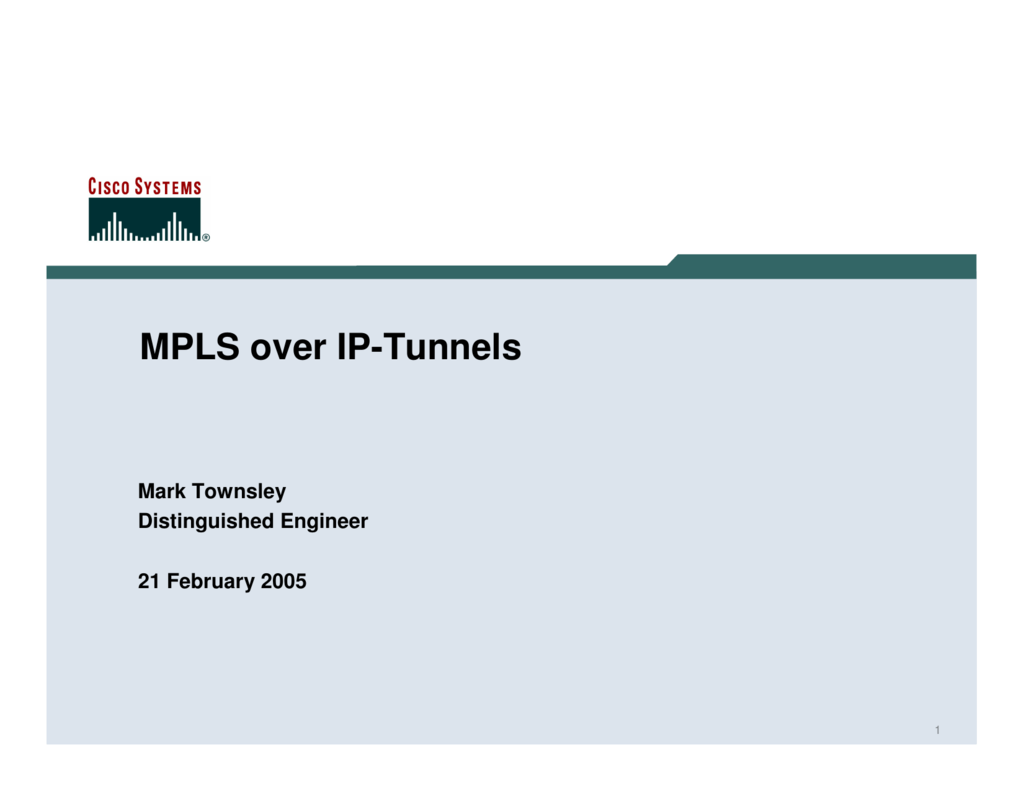 MPLS over IP-Tunnels