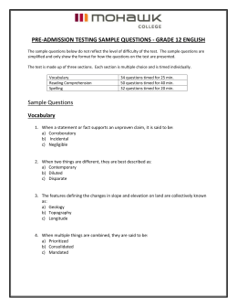 PRE-ADMISSION TESTING SAMPLE QUESTIONS