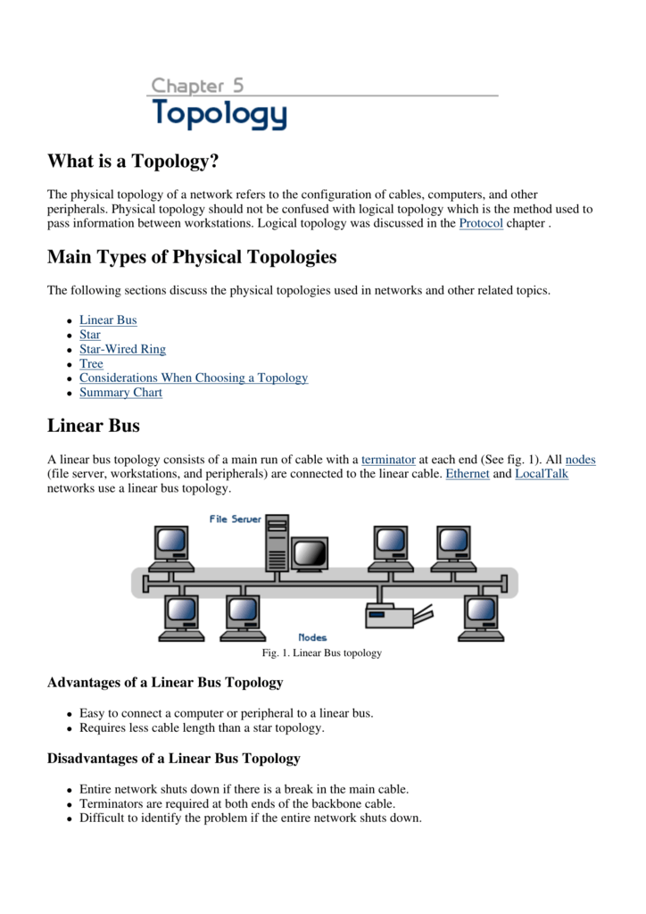 What is a Topology? Main Types of Physical Topologies Linear Bus