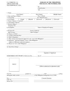 F.A. FORM NO. 2-A EMBASSY OF THE PHILIPPINES APPLICATION