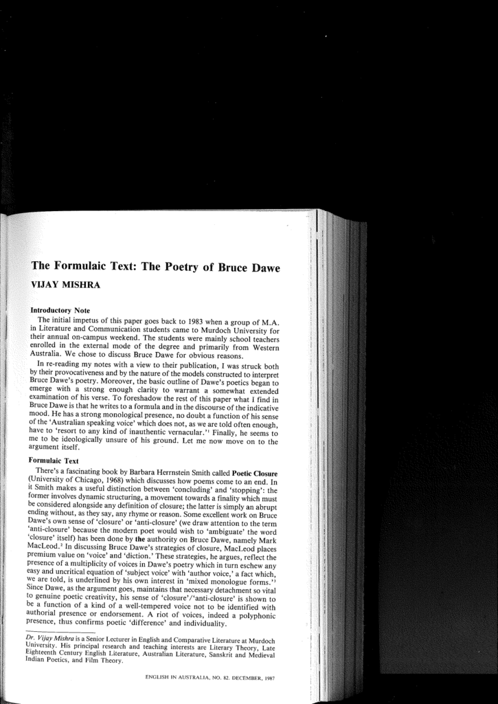 bruce dawes poetry Continuing on with the month of mondays in may dedicated to poetry and poets, today's subject is bruce dawe as far as i'm concerned, bruce dawe is australia's greatest poet and making a statement like that could potentially spark heated debate given the other candidates: banjo patterson, henry lawson, les murray and.