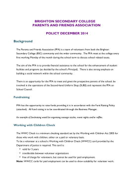 PFA Policy 2014-2015 - Brighton Secondary College