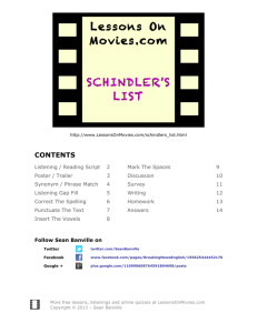 Lessons On Movies.com SCHINDLER'S LIST