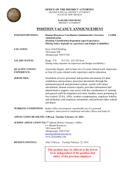 position vacancy announcement - Bernalillo County District