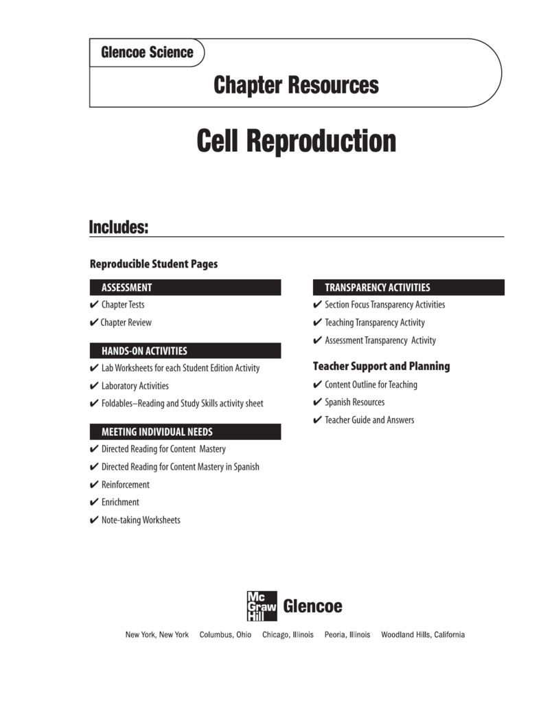 Chapter 10 Resource Cell Reproduction