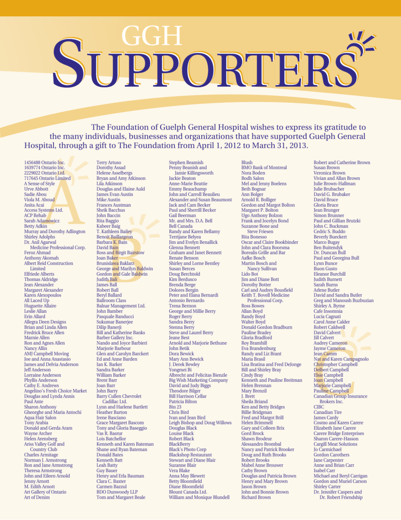 Our supporters 2012-2013 - Foundation of Guelph General Hospital