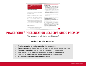 POWERPOINT® PRESENTATION LEADER'S GUIDE PREVIEW