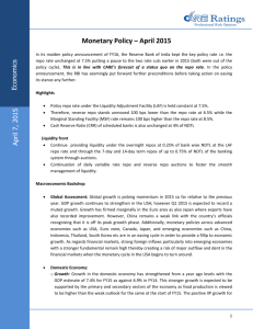 Monetary Policy – April 2015